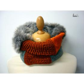 Col+Snood+Couture+%26+Tricot+orange+et+gris