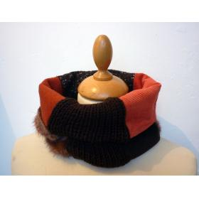 Col+snood+Couture+%26+Tricot+marron+et+orange